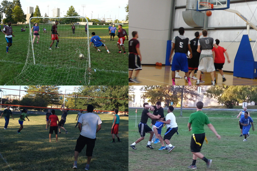 collage of students playing volleyball, basketball, flag football, and basketball