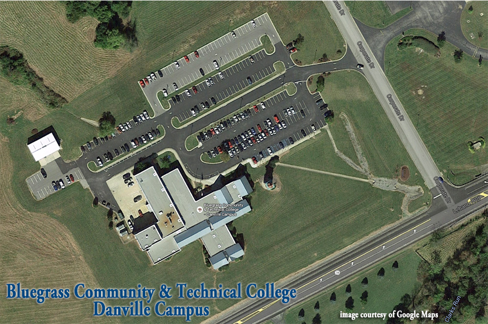 A bird's eye view photo of the Danville Campus