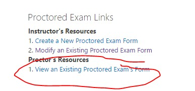 Screenshot View an Existing Proctored Exam's Form