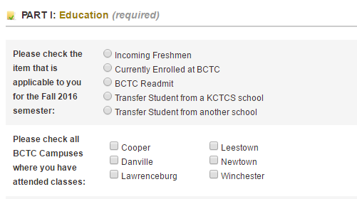 image of the expanded Education tab and its various options