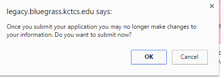 image of the popup window informing the user that once they submit the application, they can no longer edit it