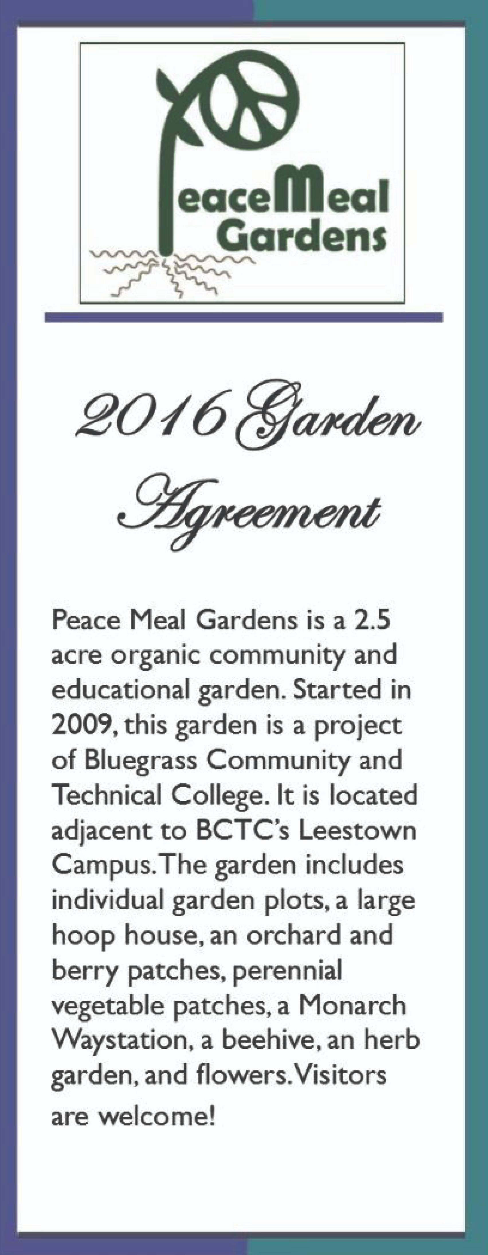 Peace Meal Gardens Agreement 2016