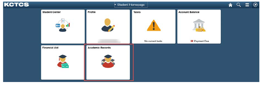 student homepage screenshot with the various tile options