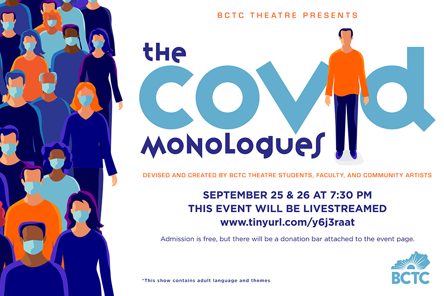 "Advertising screen for ""The Covid Monologues"""