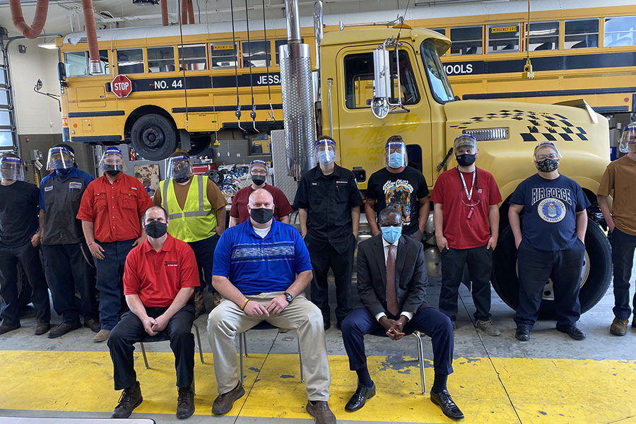 BCTC Diesel Technology May 2020 graduates with Billy Simpson, Jim Dotson, and Dr. Akakpo sitting in front