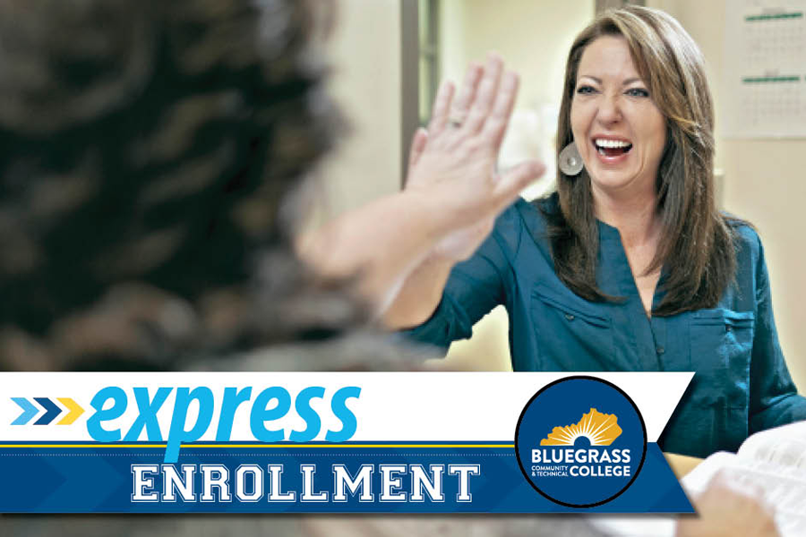 photo of enrollment advisor high-fiving someone who just successfully enrolled